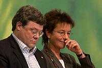 28 NOV 2003, DRESDEN/GERMANY:<br /> Reinhard Buetikofer (L), B90/Gruene Bundesvorsitzender, und Angelika Beer (R), B90/Gruene Bundesvorsitzende, 22. Ordentliche Bundesdelegiertenkonferenz Buendnis 90 / Die Gruenen, Messe Dresden<br /> IMAGE: 20031128-01-038<br /> KEYWORDS: Bündnis 90 / Die Grünen, BDK, Reinhard Bütikofer<br /> Parteitag, party congress, Bundesparteitag