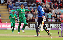 Pakistan's Hassan Ali celebrates the wicket of England's Joe Root during the Fifth Royal London One Day International at the SSE SWALEC Stadium, Cardiff.