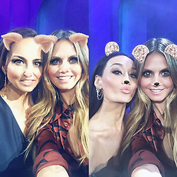 """Heidi Klum releases a photo on Instagram with the following caption: """"Double the guest judges, double the fun! Loved having @AnneFulenwider and @MaggieQ guest judge tonight\u2019s @ProjectRunway episode!"""". Photo Credit: Instagram *** No USA Distribution *** For Editorial Use Only *** Not to be Published in Books or Photo Books ***  Please note: Fees charged by the agency are for the agency's services only, and do not, nor are they intended to, convey to the user any ownership of Copyright or License in the material. The agency does not claim any ownership including but not limited to Copyright or License in the attached material. By publishing this material you expressly agree to indemnify and to hold the agency and its directors, shareholders and employees harmless from any loss, claims, damages, demands, expenses (including legal fees), or any causes of action or allegation against the agency arising out of or connected in any way with publication of the material."""