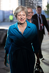© Licensed to London News Pictures . 29/09/2018. Birmingham, UK. British Prime Minister and Conservative Party leader THERESA MAY arrives at the Hyatt Regency hotel ahead of the start of the Conservative Party conference at the ICC in Birmingham . Photo credit: Joel Goodman/LNP