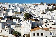 Pueblo blanco historic village whitewashed houses on hillside, Vejer de la Frontera, Cadiz Province, Spain