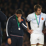 Dejected French players after their loss  during the New Zealand V France Final at the IRB Rugby World Cup tournament, Eden Park, Auckland, New Zealand. 23rd October 2011. Photo Tim Clayton...