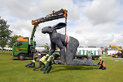 "(C) London News Pictures . Harrogate. Yorkshire. 07/07/2011.""Crawling"" by Sophie Ryder has been moved from the world-famous Yorkshire Sculpture Park and has been craned into its temporary home at the Great Yorkshire Showground in time for the start of next week's Great Yorkshire Show which runs from Tuesday 12 to Thursday 14 July 2011. Mandatory Credit Sam Atkins/LNP"