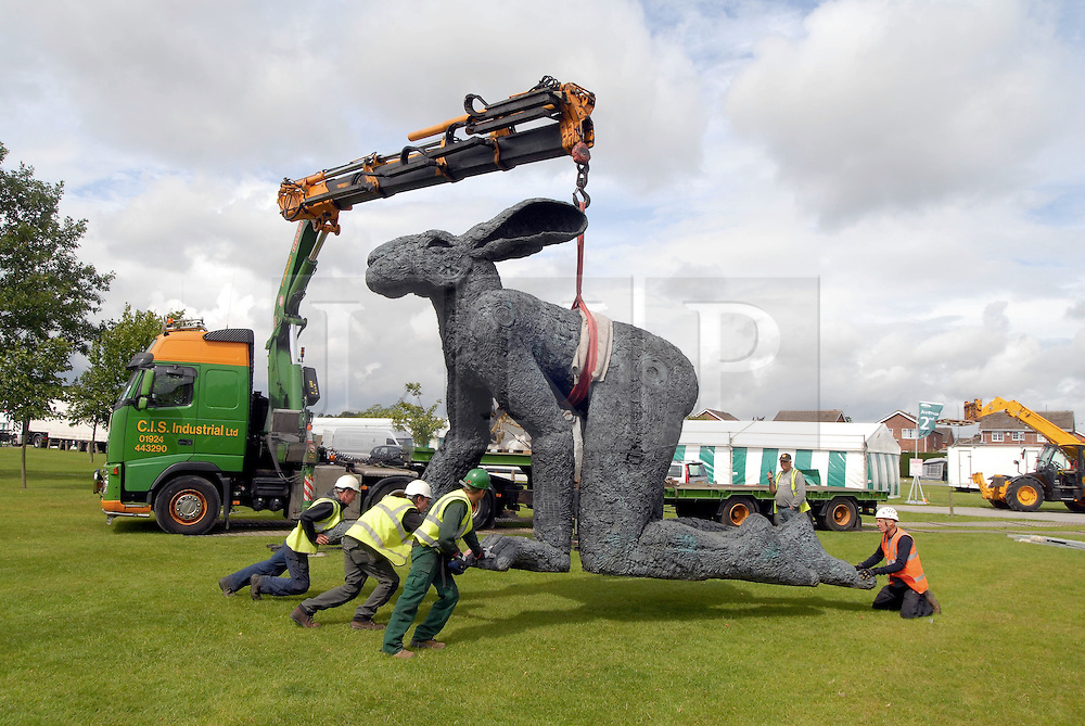 """(C) London News Pictures . Harrogate. Yorkshire. 07/07/2011.""""Crawling"""" by Sophie Ryder has been moved from the world-famous Yorkshire Sculpture Park and has been craned into its temporary home at the Great Yorkshire Showground in time for the start of next week's Great Yorkshire Show which runs from Tuesday 12 to Thursday 14 July 2011. Mandatory Credit Sam Atkins/LNP"""