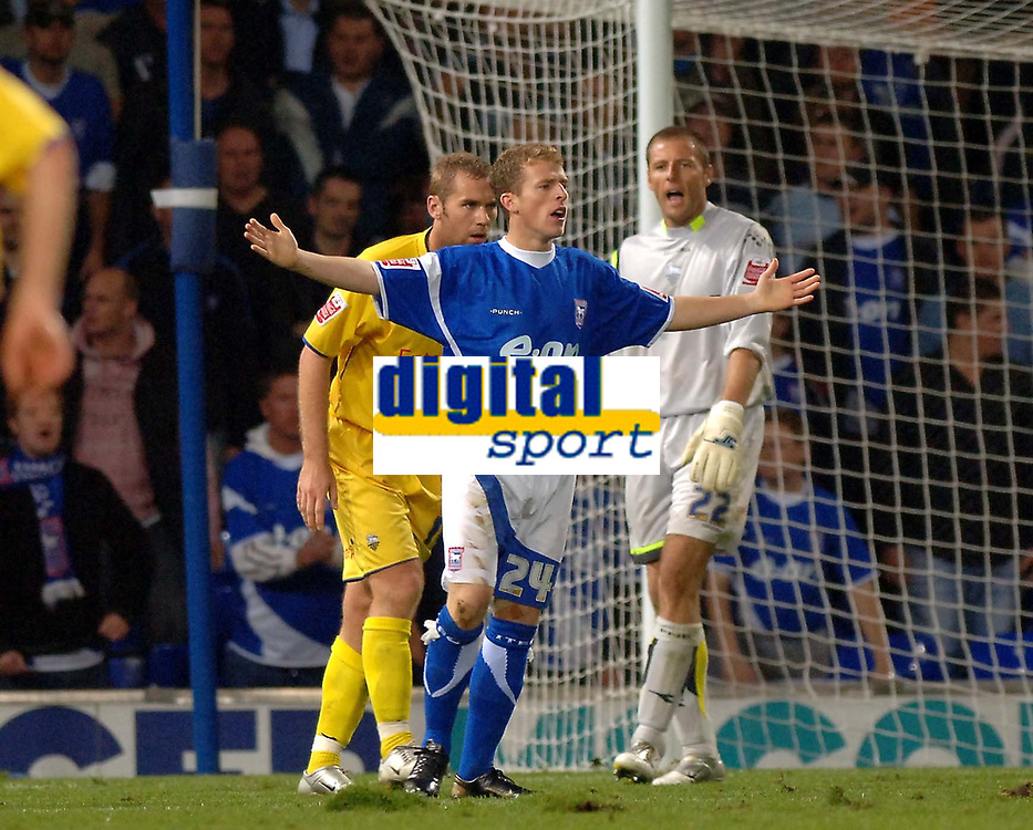 Photo: Ashley Pickering.<br />Ipswich Town v Preston North End. Coca Cola Championship. 17/10/2006.<br />Ipswich's Billy Clarke makes an appeal for a penalty