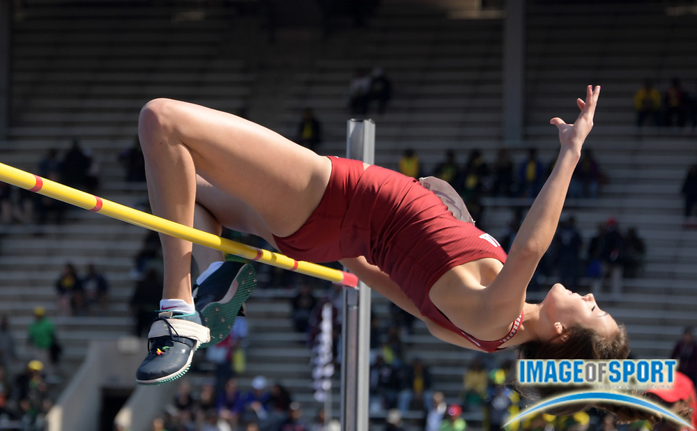Apr 28, 2018; Philadelphia, PA, USA; Falyn Reaugh of Oklahoma competes in the women's high jump during the 124th Penn Relays at Franklin Field.