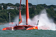 SailGP Team China stuff the bows rounding the top mark in race one. Race Day. Event 4 Season 1 SailGP event in Cowes, Isle of Wight, England, United Kingdom. 11 August 2019: Photo Chris Cameron for SailGP. Handout image supplied by SailGP