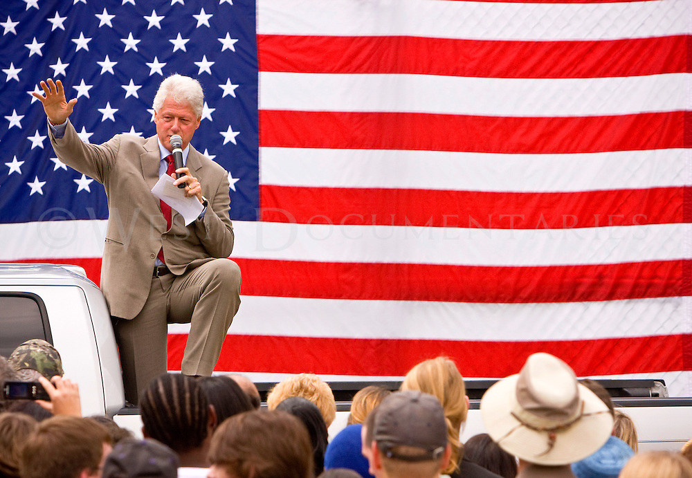 Former president Bill Clinton addresses a crowd of Hillary supporters in Hillsborough, NC. on April 23, 2008.
