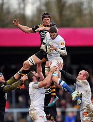 Castres Olympique captain Yannick Caballero  wins the ball at a lineout - Photo mandatory by-line: Patrick Khachfe/JMP - Mobile: 07966 386802 14/12/2014 - SPORT - RUGBY UNION - High Wycombe - Adams Park - Wasps v Castres Olympique - European Rugby Champions Cup