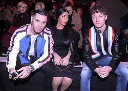 Men's fashion week, Dsquared2 fashion show. 15 Jan 2018 Pictured: Emis Killa, Fortini Tiffany, Harrison Osterfield. Photo credit: Fotogramma / MEGA TheMegaAgency.com +1 888 505 6342
