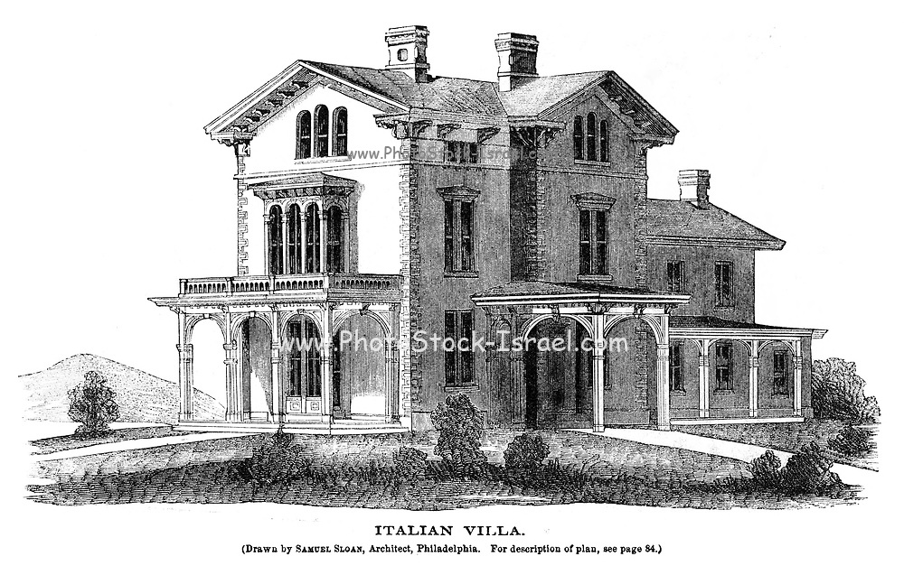 Italian Villa From Godey's Lady's Book and Magazine, January 1864, Philadelphia, Louis A. Godey, Sarah Josepha Hale,
