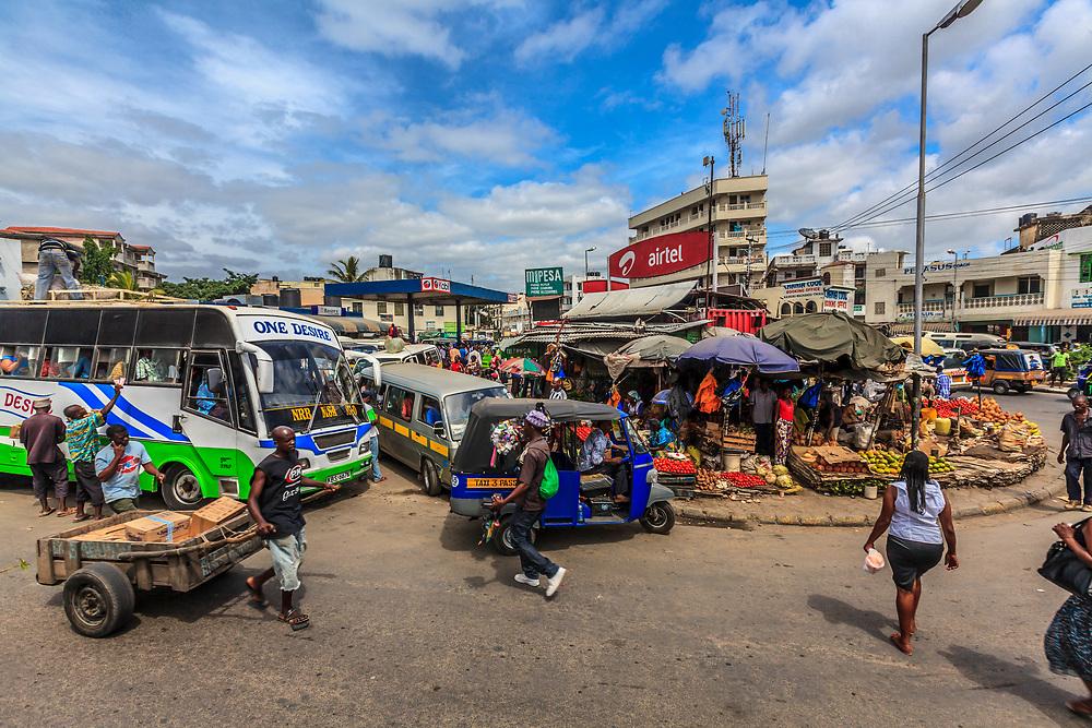 Hectic traffic in Mombasa bus station in Kenya.
