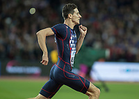 Athletics - 2017 IAAF London World Athletics Championships - Day Five, Evening Session<br /> <br /> Mens 800m Final<br /> <br /> Pierre -Ambroise Bosse races downthe home straight to the finish to win the gold medal at the London Stadium<br /> <br /> COLORSPORT/DANIEL BEARHAM