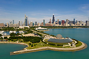 Aerial drone image of the Adler Planetarium and the Chicago Skyline on Wednesday, Aug. 5, 2020.<br /> Photo by Mark Black Photography