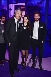 Left to right, GEORGE LAMB, EMER KENNY and RICK EDWARDS at a party to celebrate 25 years of John Frieda held at Claridge's, Brook Street, London on 29th October 2013.