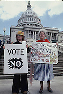 A group on the steps of the Capitol to urge signing a petition to vote against the signing of the Panama Canal Treaty in April 1978<br /> Photo by Dennis Brack