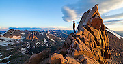 James Meldrum takes in breathtaking views from the Keyhole on Longs Peak, Rocky Mountain National Park, Colorado.