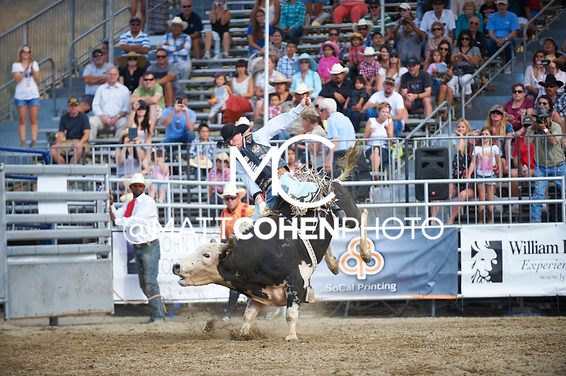 Bull rider Cody Campbell of Summerville, OR rides 438/7 Gizmo at the Rancho Mission Viejo Rodeo in San Juan Capistrano, CA.  <br /> <br /> <br /> UNEDITED LOW-RES PREVIEW<br /> <br /> <br /> File shown may be an unedited low resolution version used as a proof only. All prints are 100% guaranteed for quality. Sizes 8x10+ come with a version for personal social media. I am currently not selling downloads for commercial/brand use.