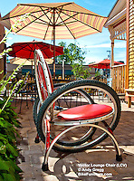Made from reused aluminum bicycle wheels with cushions made with marine-grade vinyl, the Vector Lounge Chair is suitable for outdoor use.