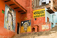 Colourful Murals of Hindu Gods at Narad Ghat in Varanasi, Uttar Pradesh, India