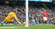 Joe Hart of Manchester City saves a shot from Angel Di Maria of Manchester United - Barclays Premier League - Manchester City vs Manchester Utd - Etihad Stadium - Manchester - England - 2nd November 2014  - Picture David Klein/Sportimage