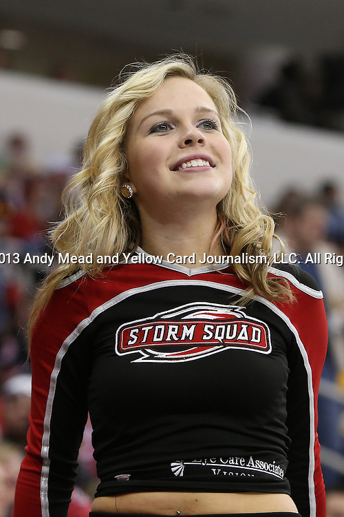 13 April 2013: A member of the Storm Squad, Carolina's cheerleaders. The Carolina Hurricanes played the Boston Bruins at the PNC Arena in Raleigh, North Carolina in a 2012-2013 National Hockey League regular season game. Carolina won the game 4-2.