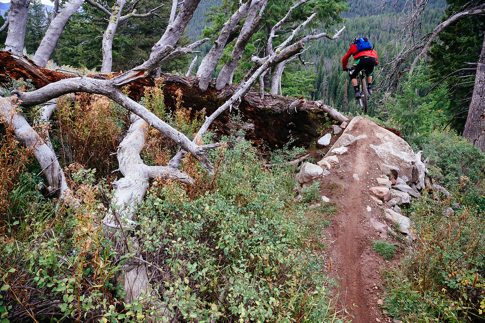Andrew Whiteford descends the Parallel Trail on Teton Pass near Wilson, Wyoming.