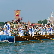 VENICE, ITALY - JUNE 05:  General view of the Sensa procession in Bacino St Mark on June 5, 2011 in Venice, Italy. The festival  of la Sensa is held in May the Sunday after Ascension Day  following the traditional ceremony where the doge enacted the wedding of Venice to the sea. The ritual has recently been revived,