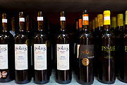 Rioja red wines Polus Crianza, Reserva and Graciano on display in Pepita Uva shop in Laguardia, Rioja-Alavesa, Spain