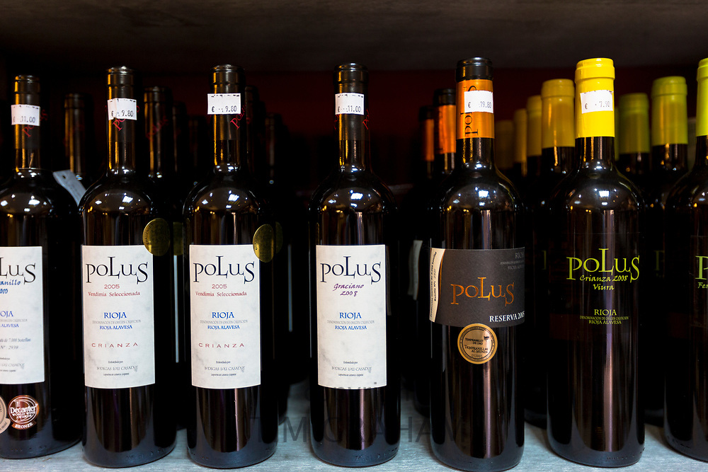 Rioja red wines Polus Crianza, Reserva and Graciano on display in Pepita Uva shop in Laguardia, Rioja-Alavesa, Spain
