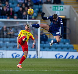 Partick Thistle's Jamie Barjonas and Dundee's Ross Callachan. Dundee 2 v 0 Partick Thistle, Scottish Championship game played 8/2/2020 at Dundee stadium Dens Park.