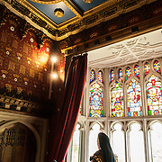 And exhibit showing some of Catherine Parr's royal chambers at Sudeley Castle, with stained glass windows overlooking the chapel. Sudeley Castle dates back to the 15th century, although an even older castle might have once been on the same site. It was the final home and burial place of King Henry VIII's last wife, Queen Catherine Parr (c. 1512-1548).