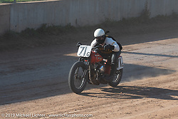 Eric Bass on his Harley-Davidson tank-shift Flathead racer in the Spirit of Sturgis races at the fairgrounds during the Sturgis Black Hills Motorcycle Rally. Sturgis, SD, USA. Monday, August 5, 2019. Photography ©2019 Michael Lichter.