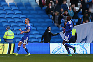 Joe Ralls of Cardiff city (l) celebrates after he scores his teams 1st goal. EFL Skybet championship match, Cardiff city v Aston Villa at the Cardiff City Stadium in Cardiff, South Wales on Monday 2nd January 2017.<br /> pic by Andrew Orchard, Andrew Orchard sports photography.