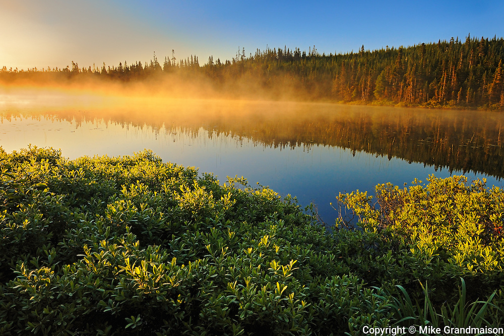 Sunrise on northern lake<br /> Lac A Thompson<br /> Quebec<br /> Canada