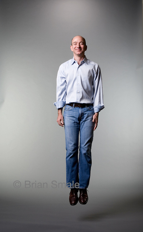 Jeff Bezos CEO Amazon.com Jeff Bezos, CEO of Amazon.com.  Photographed in studio setting for Businessweek Magazine, 2006-10.