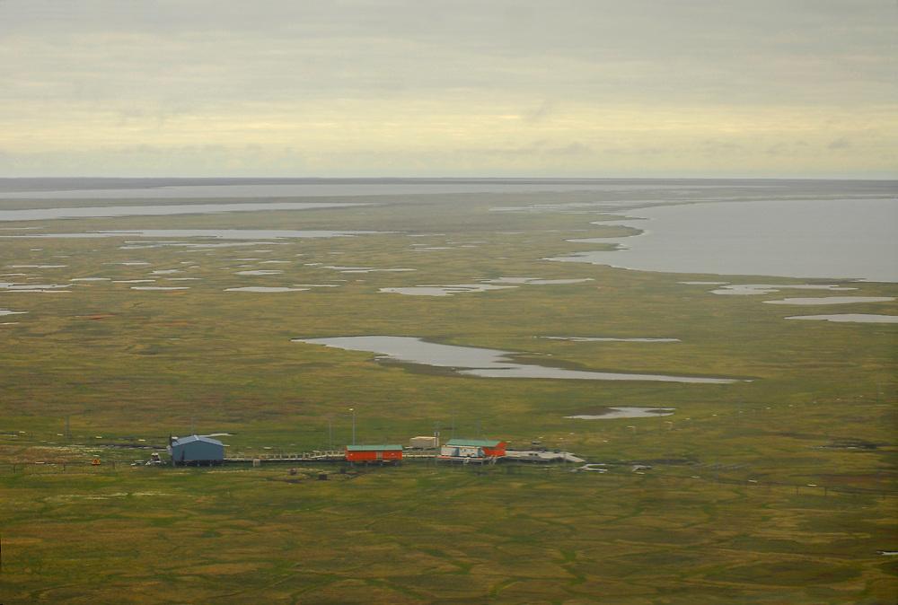 Alaska, Barrow. Tundra in Summer by gas well.  July 2007