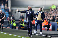 Claudio Ranieri, the Leicester City manager looks frustrated on the touchline. The Emirates FA Cup 5th round match, Millwall v Leicester City at The Den in London on Saturday 18th February 2017.<br /> pic by John Patrick Fletcher, Andrew Orchard sports photography.