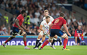 Twickenham, England.  Richard WIGGLESWORTH looking for a free player to pass too, during the QBE International. England vs France [World cup warm up match]  Saturday.  15.08.2015,  [Mandatory Credit. Peter SPURRIER/Intersport Images].