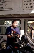 Como Lake: Arno with his Guzzi on the Ferry to Bellagio