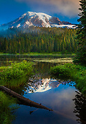 Misty Reflection at Mount Rainier's Reflection Lakes