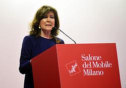 Italy, Milan  - April 17, 2018.The opening of the FIERA DEL MOBILE, MILANO  - FURNITURES FAIR 2018.Senate president Maria Elisabetta Alberti Casellati (Credit Image: © Chioccia/Fotogramma/Ropi via ZUMA Press)
