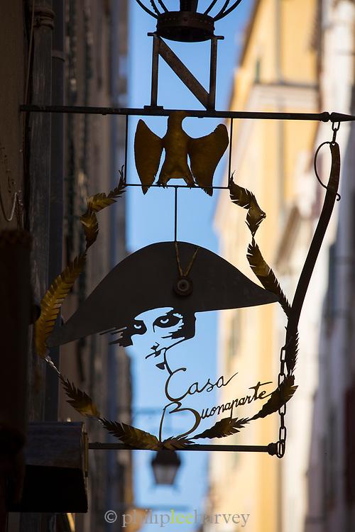 Close up of sign with Napoleon Bonaparte, Museum National de la Maison Bonaparte, Ajaccio, Corsica, France