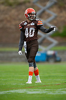 KELOWNA, BC - SEPTEMBER 8:  Liam Johnstone #40 of Okanagan Sun motions to another player on the field against the Langley Rams  at the Apple Bowl on September 8, 2019 in Kelowna, Canada. (Photo by Marissa Baecker/Shoot the Breeze)