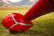 Closeup of landing gear of 1938 Reariwin Speedster, showing unique suspension.