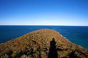 Barranjoey Lighthouse, casts a strong shadow over the headland.,Sydney, Australia.