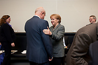 02 MAR 2010, BERLIN/GERMANY:<br /> Volker Kauder (L), CDU, CDU/CSU Fraktionsvorsitzender, und Angela Merkel (R), CDU, Bundeskanzlerin, im Gespraech, vor Beginn einer Fraktionssitzung, Deutscher Bundestag<br /> IMAGE: 20100302-02-008<br /> KEYWORDS: Gespräch