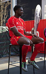 LIVERPOOL, ENGLAND - Thursday, April 10, 2014: Liverpool's Kolo Toure at the launch of the new Warrior home kit for 2014/2015 at the Liverpool One shopping centre. (Pic by David Rawcliffe/Propaganda)