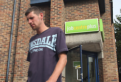 © Licensed to London News Pictures. 17/08/11. Dartford, UK. A man leaving the Job Centre Plus in Dartford, Kent today (17/08/2011). The UK unemployment total rose unexpectedly in the three months to June, by 38,000 to 2.49m. The jobless rate also increased to 7.9%, the Office for National Statistics (ONS) has said. Photo credit : Andy Barnes/LNP