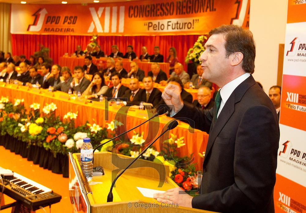 Pedro Passos Coelho  na sessão de encerramento do XIII Congresso  do PSD Madeira..Foto Gregorio Cunha